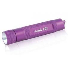 ФОНАРЬ FENIX E01 фиолетовый с батарейкой