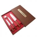 Набор подарочный SATAKE NATURAL WOOD из 3 ножей (Сантоку 170мм, Универсальный 150мм, Овощной 120мм)