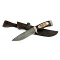 Нож кузнеца Семина БЛИЗНЕЦ сталь-дамаск, литье,черное дерево, кость