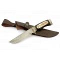Нож кузнеца Семина ГАЛЕОН сталь-дамаск, литье, черное дерево, кость