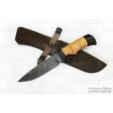Нож кузнеца Семина ЛАЗУТЧИК сталь-дамаск, рукоять береста-граб
