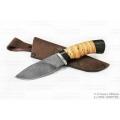 Нож СЕМИНА РАЗДЕЛОЧНЫЙ сталь ДАМАСК, береста, граб, дюраль