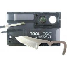 Мультикарта SOG TLSVC1 в наборе нож, инструменты, компас, лупа, цвет- полупрозрачный графит